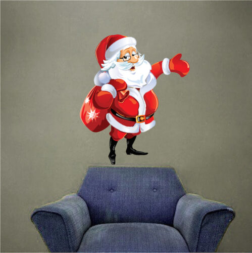 h83 Santa Claus And Sack Wall Decal Winter Christmas Window Party Decoration