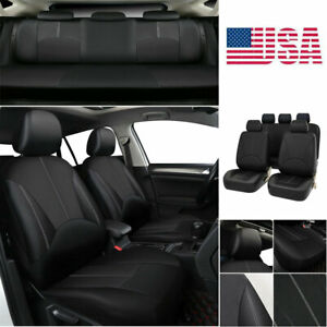 Full Set 5-Sit Car Seat Cover Protector Front+Rear PU Leather Cushion All Season