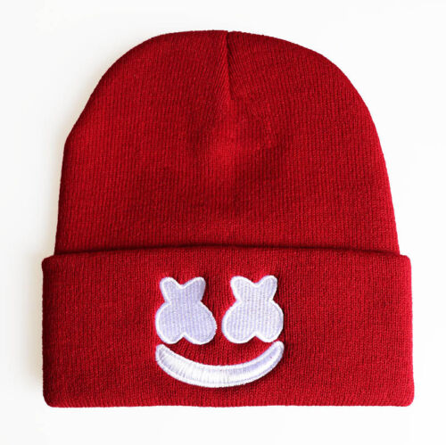 Marshmello DJ Fans Beanie Knitted Hat Girls Boys Stretchy Embroidered Logo Hat