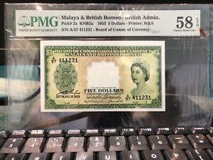 1953 $5 Malaya PMG58 EPQ