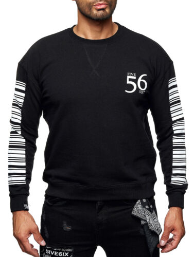 Neu Herren Sweater Pullover Sweatshirt Oversize Barcode Print 1869 Pulli Gr S-XL