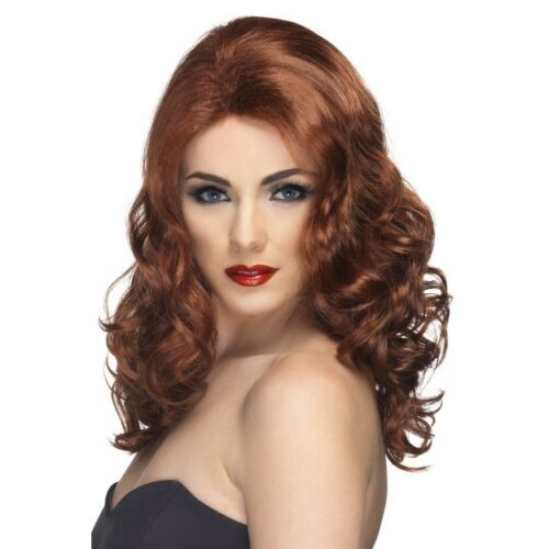 Women/'s Auburn Glamorous Curly Fancy Dress Wig Model Ginger Spice Hen Night Fun