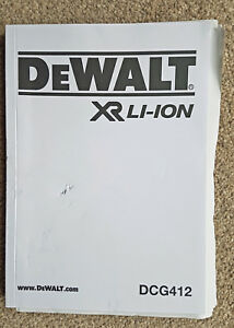 DeWALT User Manual / HandBook / Instructions DCG412