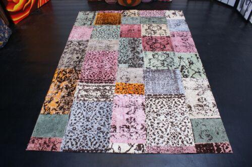 nr EC6002 Hochwertige Designer Patchwork Wolle Teppich ca 240 x 170 cm.