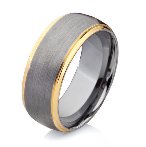 Anillo de compromiso boda alianza amistad anillo bicolor 8mm de carburo de tugsteno