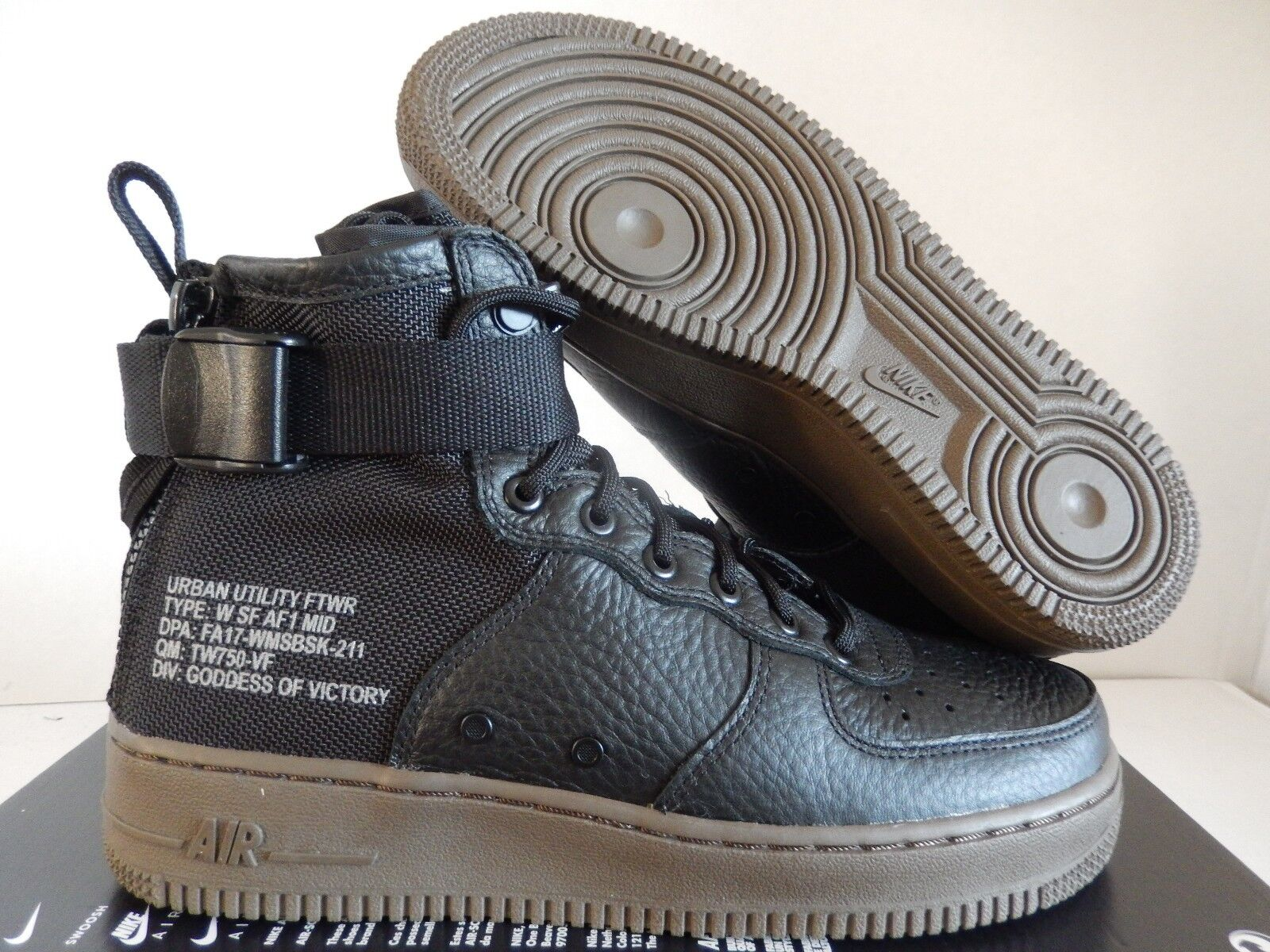 WMNS AIR FORCE 1 SF AF1 MID SPECIAL FIELD BLACK-DARK HAZEL SZ 8.5 [AA3966-003]