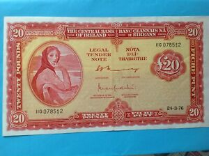 IRELAND 1976  £20   LADY  LAVERY  BANKNOTE  UNCIRCULATED CONDITION