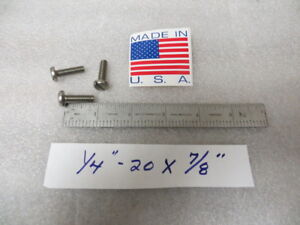 "1//4-20 x 7//8/"" Slotted Truss Head Machine Screws Stainless Steel 18-8 Qty 100"