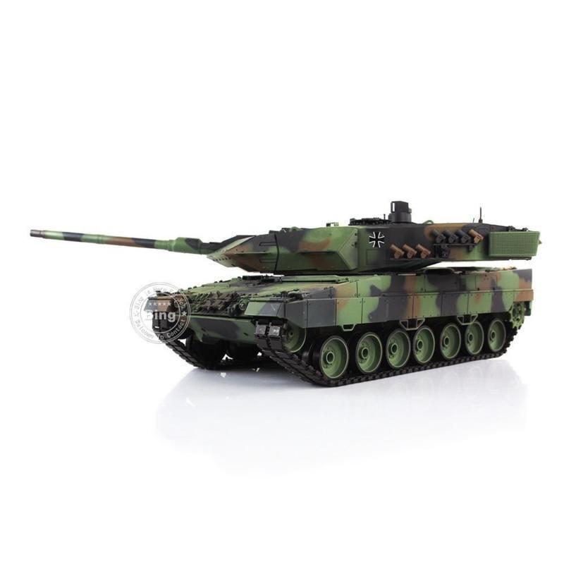 Leopard2A6 RC Tank 3889 1 16 Camo grön Anpassad Ver3 Full Metal Chasis