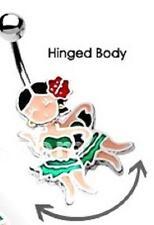 "Belly Button Ring Navel Hula Dancer Body Jewelry Dangle 14g 3/8"" sreel [Jewelry]"