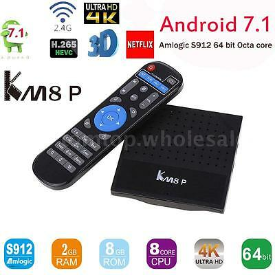 KM8P Latest S912 Octa Core 2GB+8GB UHD 4K Android 7.1 Smart TV Box WiFi VP9
