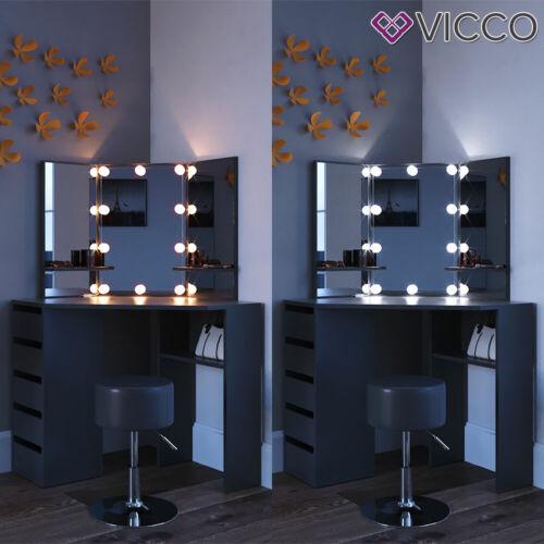 Vicco Coiffeuse d'angle Arielle table de maquillage LED noir tabouret