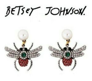 US-Seller-Betsey-Johnson-Crystal-Insect-Stud-Earrings-Fashion-Jewelry-bee-dangle
