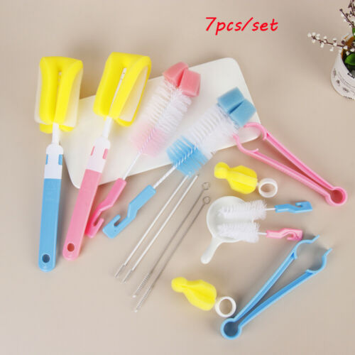 7pcs Baby Bottle Brush Nipple 360-degree Rotating Clean Sponge Washing Tools