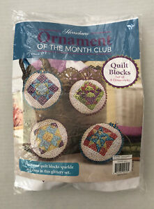 Herrschners Ornament Of the Month Kit Quilt Blocks Opened