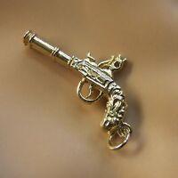 9 Ct Gold Solid Flintlock Pistol Charm
