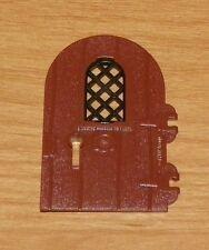 LEGO - Round Top Door w/ Black Diamond Lattice Window - Reddish Brown