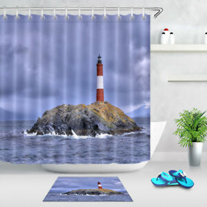 Image Is Loading Lighthouse Shower Curtain Set 71 034 Fabric Waterproof