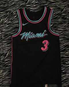 on sale 4a439 102a7 Details about New Miami Heat Vice Dwayne Wade City Edition Authentic Jersey  Sz 40 Vaporknit