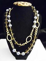 Joan Rivers Classic Twist Sim. Pearl & Bead Necklace 41 Plus 3 Gray/gray.