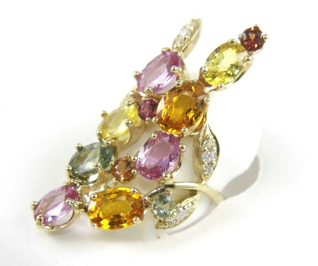 Multi-color Sapphire & Diamond Rainbow Flower Lady's Ring 14k Yellow gold 9.00Ct
