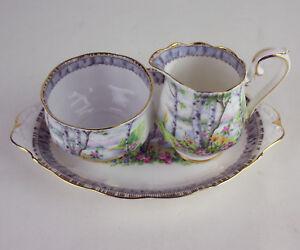 Small-Creamer-Sugar-Bowl-Oval-Regal-Tray-Royal-Albert-Silver-Birch-vintage