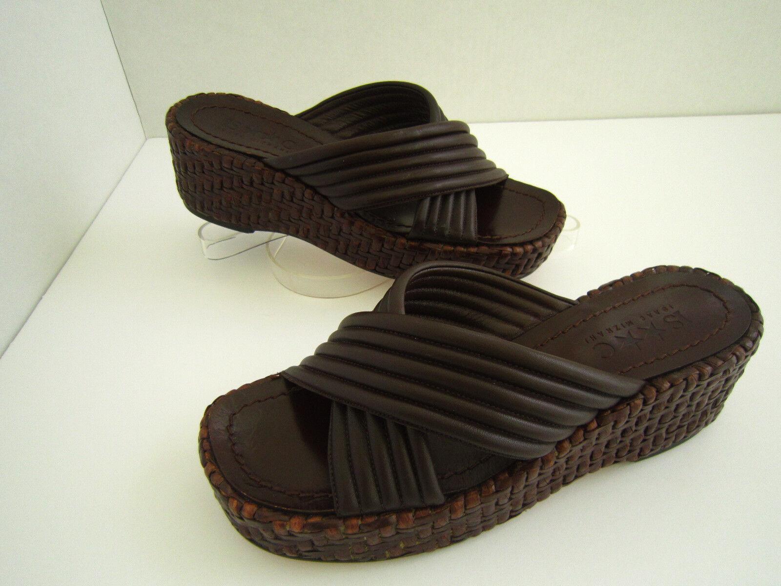 Isaac Mizrahi En Cuir marron Tissé Slide Sandales Taille 8 M Italie