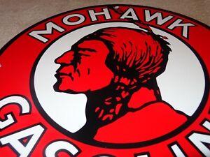 """VINTAGE MOHAWK GASOLINE INDIAN 11 3/4"""" PORCELAIN METAL GAS OIL SIGN! PUMP PLATE"""