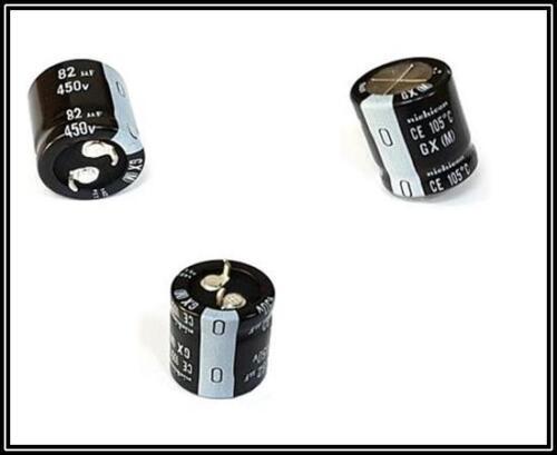 Nichicon Elko Condensatore 82µf 450v 105 ° rm:10mm 22x25mm SnapIn 2 pezzi