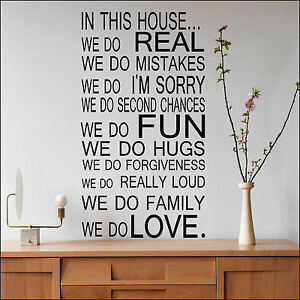 LARGE QUOTE HOUSE RULES FAMILY LOVE FUN ART WALL STICKER STENCIL - House rules wall decals