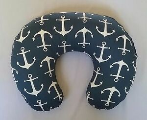 Hot Pink Anchor White Minky Nursing Pillow  Cover