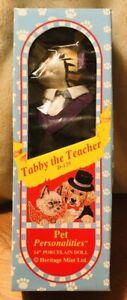 Rare-Vintage-1994-Heritage-Mint-Pet-Personalities-Tabby-The-Teacher-Cat-Doll-MIB