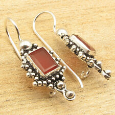 """925 Silver Overlay Red CARNELIAN Gem Expensive-Looking CHEAP Earrings 1.2"""""""