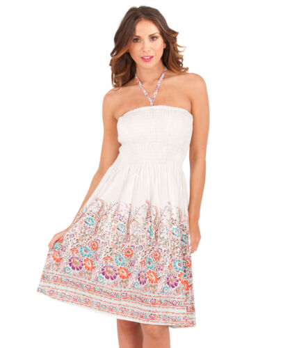 Ladies Summer Strapless//Bandeau Cotton Beach Sun Dress//Maxi Skirt Size 8-22 NEW