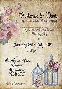 Image Is Loading Personalised Vintage Birdcage Wedding Invitations