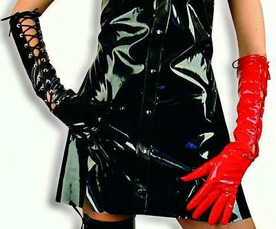 Lackhandschuhe rot oder schwarz Paar Schnürung Gothic Lack Handschuhe 125610113