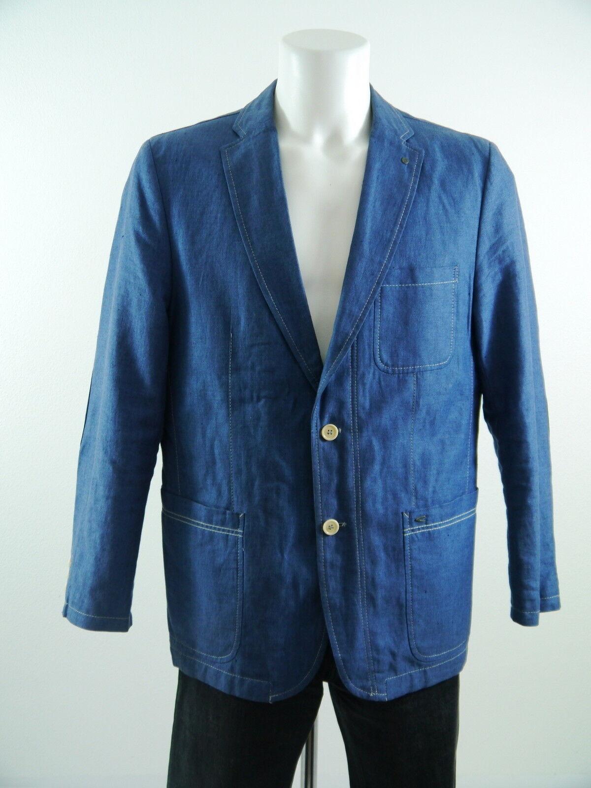 Herren Sakko CAMEL ACTIVE  A/C42060 LederPatches blau Baumwolle-Leinen Gr.50