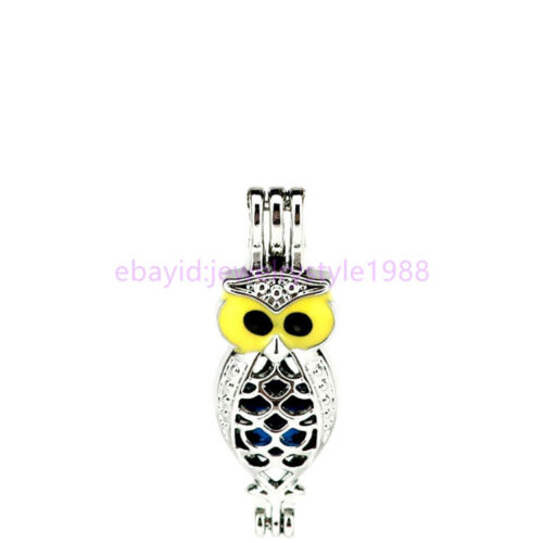 5X-K998 Owl Enamel Pearl Beads Cage Aroma Diffuser Charm Pendant