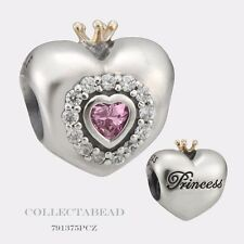 Authentic Pandora Silver & 14Kt Princess Heart Pink CZ Bead 791375PCZ