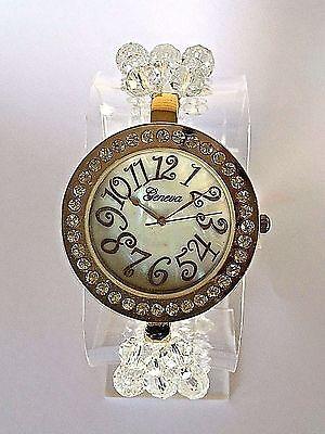 Gold Geneva Swarovski Crystal Watch BEAUTIFUL Handmade Quality Elegant CZ    eBay