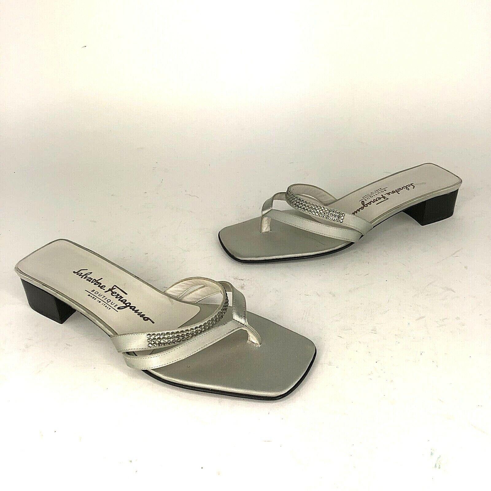 Salvatore Ferragamo Boutique Womens 8 C Block Heel Silver Bejeweled Sandal