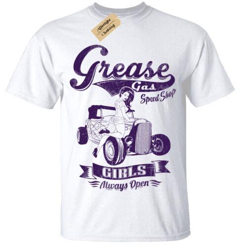 Grease Gas Work Shop Mens T-Shirt speed rockabilly hotrod car mechanic