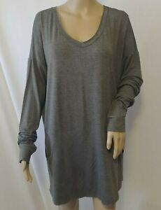 NWT-Mai-Soli-Knit-Dress-Size-XL-Gray-Sporty-Pockets-Long-Sleeves-Tunic-Stretch
