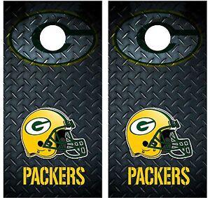 Green Bay Packers Diamond Plate Cornhole Board Decal Wrap