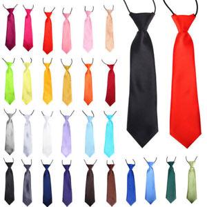 New School Boys Kids Children Baby Wedding Solid Colour Elastic Tie Necktie *UK*
