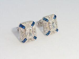 Damen-Art-Deco-Design-925-Sterling-Silber-Silber-Blau-amp-Weiss-Saphir-Ohrringe