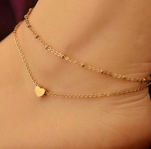 NEW WOMEN/'S//GIRL/'S GOLD HEART DOUBLE CHAIN LINK ADJUSTABLE ANKLE BRACELET
