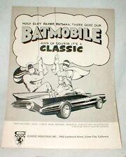 Vintage 1960's Batmobile slot car ad by Classic Mfg 1/24 scale Slot Car Item
