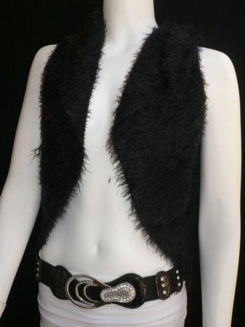 New Women Black Trendy Knit Shawl Warm Top Fringes Sweater Fashion Sleeveless M