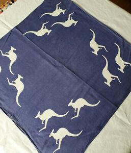 Vtg-Bandana-Blue-Kangaroo-Designed-in-Australia-by-Heil-Kerchief-Face-Cover-Mask
